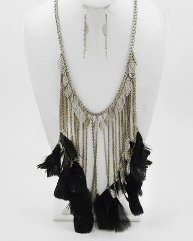 FEATHER & CHAIN NECKLACE & EARRING SET