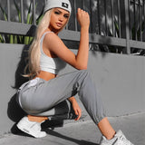 Flash Reflective Women Casual Jogger Pants 2020 Autumn Winter