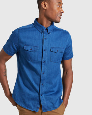 Indigo Short Sleeve Button Down