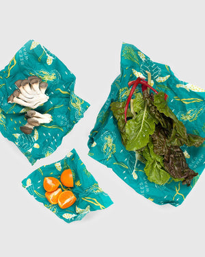 Oceans Print Reusable Food Wrap 3-Pack