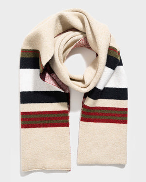 Cream Stripe Recycled Scarf