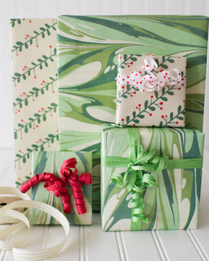 Marbled Mistletoe Reversible Eco Gift Wrap