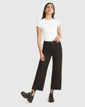 ICN Cropped Wide-Leg Jean - Black