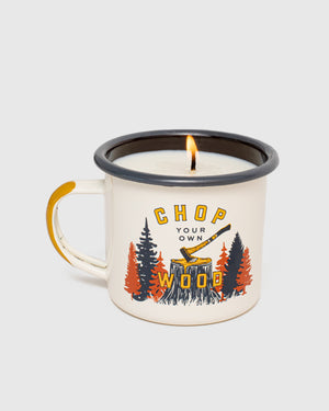 Chop Your Own Wood Enamel Candle Mug