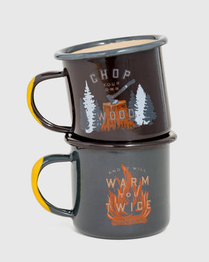 Chop Your Own Wood Enamel 6 oz. Mini Mugs