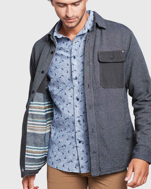 Men's Flannel-Lined Salvaged Hemp Shirt Jacket