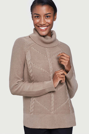 Hideaway Cableknit Turtleneck Sweater