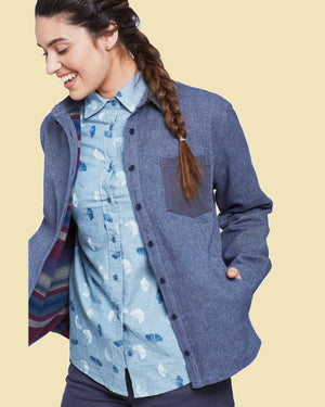 Women's Flannel-Lined Salvaged Hemp Shirt Jacket