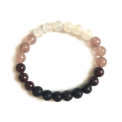 Garnet & Mixed Quartz Lava Bracelet