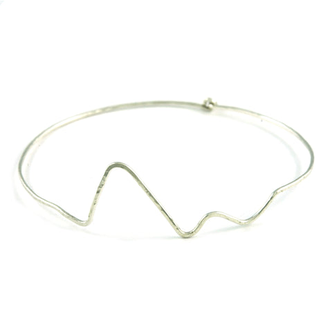 Silver Heartbeat Bangle