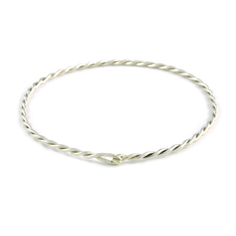 Silver Double Twist Bangle