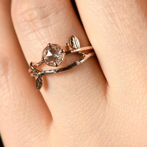 Genuine diamond rose gold engagement ring