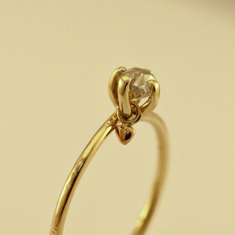 Recycled diamond engagement ring with dangle rose gold heart