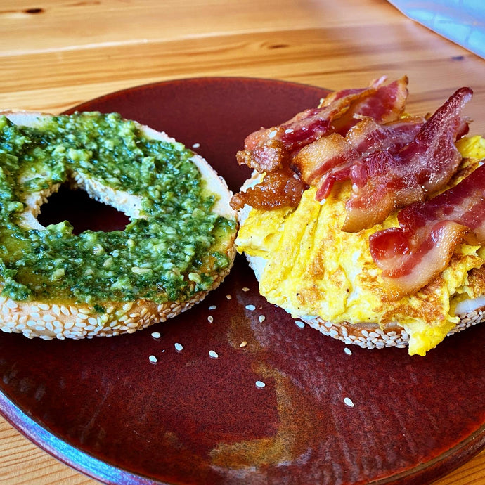 Bacon and Egg Bagel with Pesto Spread