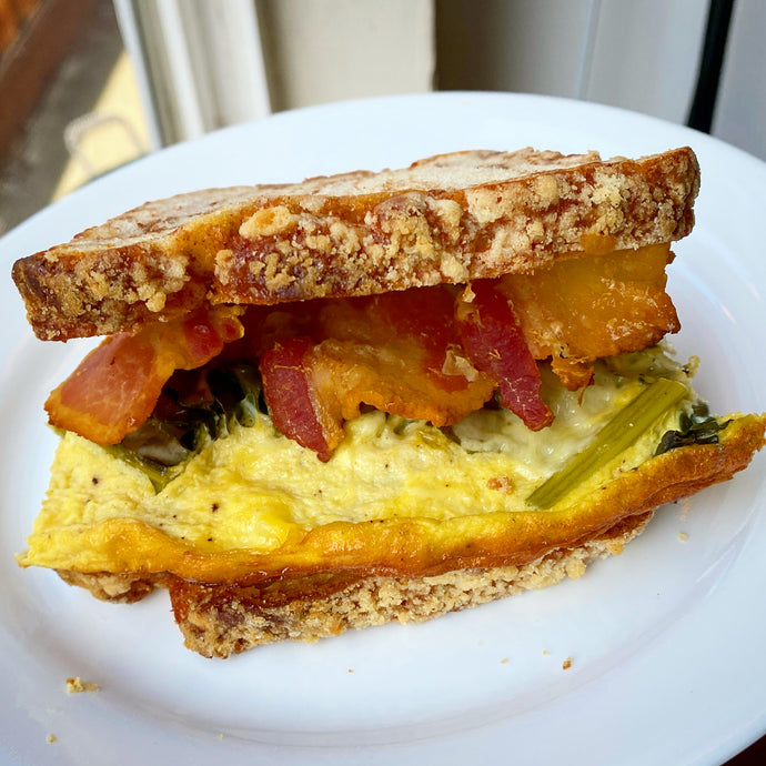 Cinnamon Breakfast Egg Bacon Sandwich