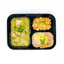 Load image into Gallery viewer, Meal - Chile Pork Verde Served With Spanish Rice & Refried Beans