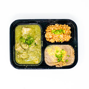 Meal - Chile Pork Verde Served With Spanish Rice & Refried Beans