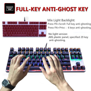 Gaming Mechanical Backlit Keyboard Blue Red Switch 87/104keys Anti-ghosting - Gaming-Shop.net