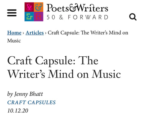 New Jenny Bhatt Craft Essay in Poets & Writers!