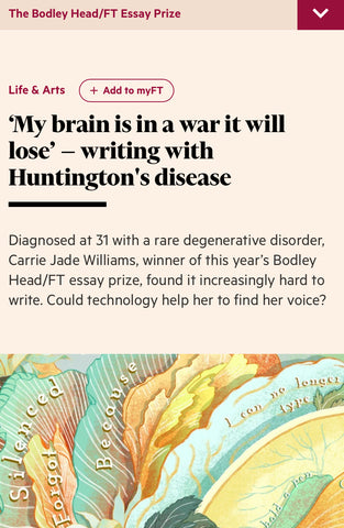 Carrie Jade Williams won The Financial Times 2020 Bodley Head/FT Essay Prize!