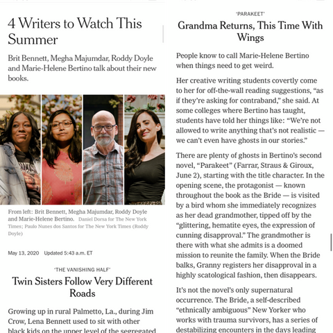 Writing Workshops Paris 2021 Instructor Marie-Helene Bertino Featured in New York Times Today!