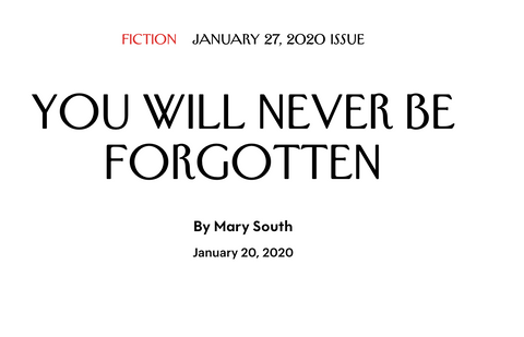Read Instructor Mary South's Short Story in The New Yorker!