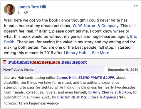 Instructor James Tate Hill Sells Memoir to W.W. Norton!