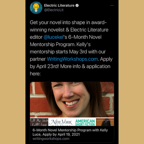 Apply for Kelly Luce's Novel Mentorship Program by April 23rd!