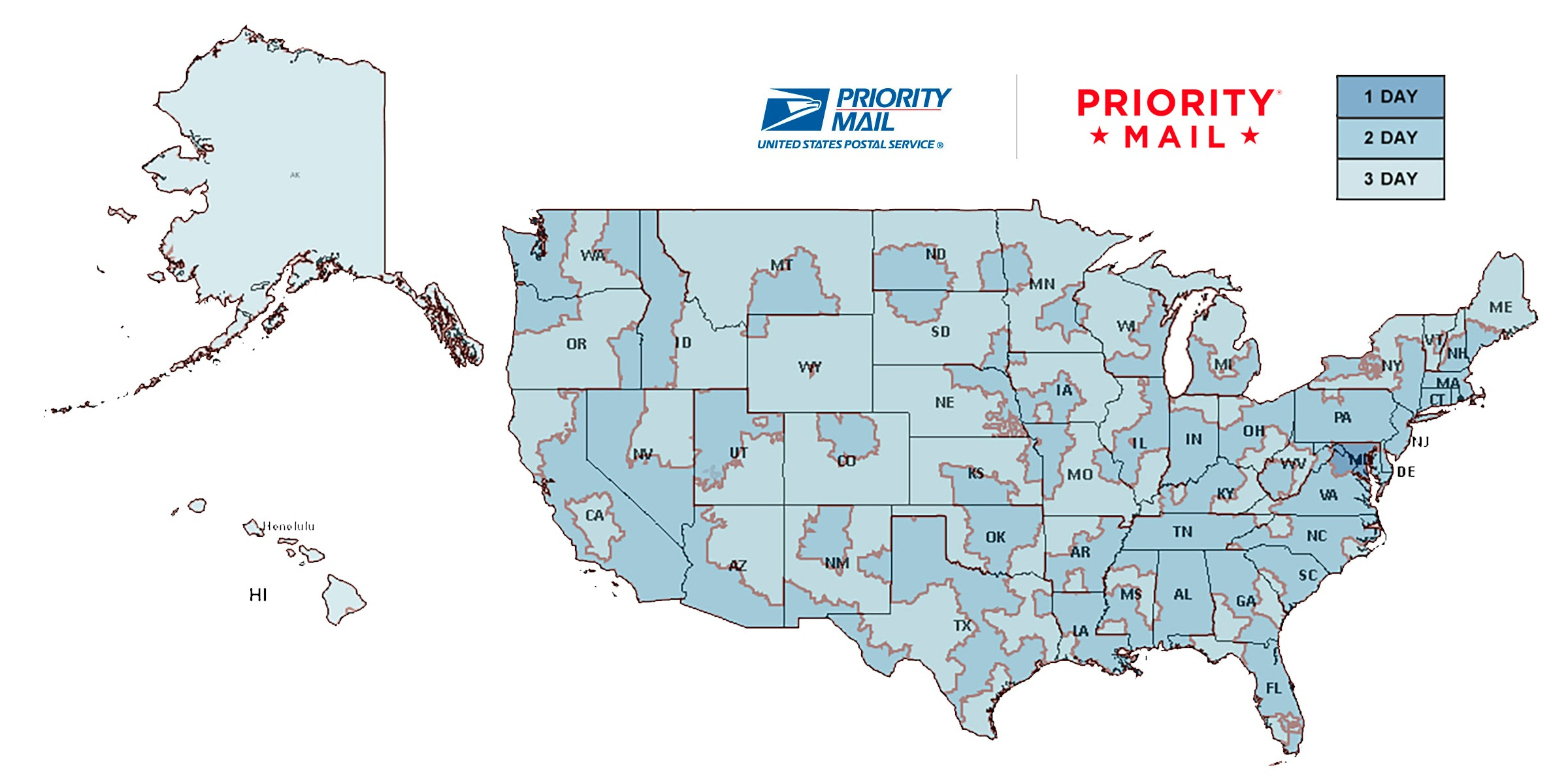 USPS Priority Mail Transit Times (estimated)