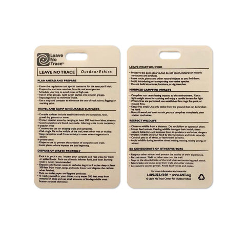 Leave No Trace - Plastic Reference Cards - RestockYourKit.com