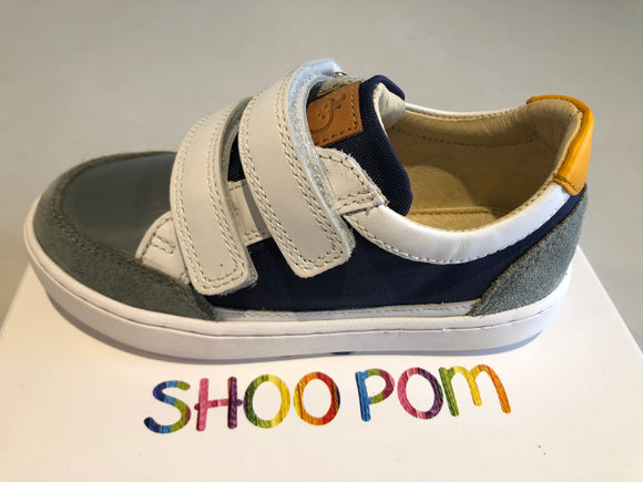 Chaussures basses shoo pom play co scratch denim white jaune