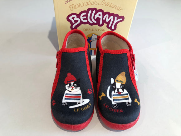 Chaussons Bellamy Victor chat chien marine