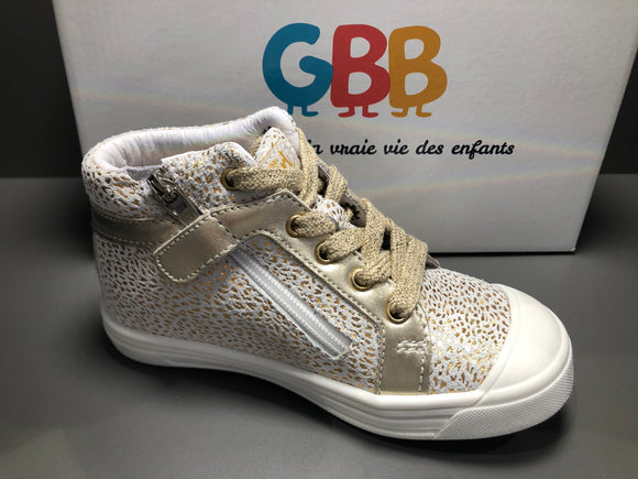 Bottines GBB navette blanc or