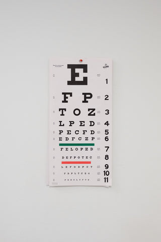 Eye chart. Getting regular checkups is important to catch glaucoma early.
