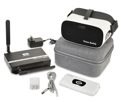 Vision Buddy Headset, charger, carrying case, streamer, box, cables
