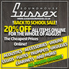 BACK TO SCHOOL 20% FOR ALL OF AUGUST AT SUSSEX SOUNDHOUSE