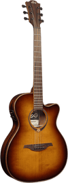 LAG T118SASCE BRS Auditorium Slim Body Sunburst Solid Top Red Cedar Electro Cutaway Acoustic Guitar