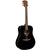 LAG T118D BLK Dreadnought Black Solid Top Red Cedar Acoustic Guitar
