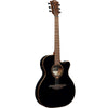 LAG T118SASCE BLK Auditorium Slim Body Black Solid Top Red Cedar Electro Cutaway Acoustic Guitar