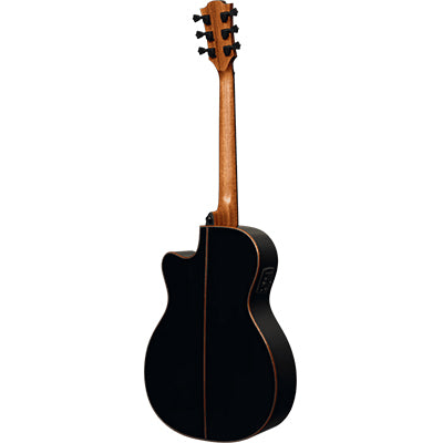 LAG T118ACE BLK Auditorium Black Solid Top Red Cedar Cutaway Electro Acoustic Guitar