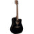 LAG T118DCE BLK Dreadnought Black Solid Top Red Cedar Cutaway Electro Acoustic Guitar