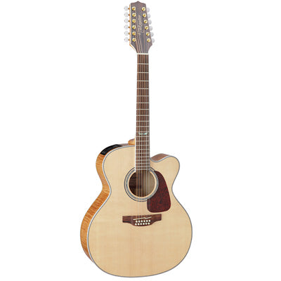 Takamine GJ72CE Flame Maple Jumbo Cutaway Natural 12 String Electro Acoustic Guitar
