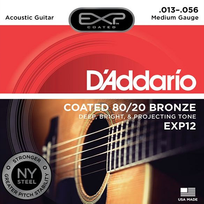 D'Addario EXP12 25 Pack Acoustic Guitar Strings  13 - 56 80/20 Bronze