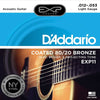 D'Addario EXP11 12 - 53 EXP Coated Acoustic Guitar Strings 80/20 Bronze
