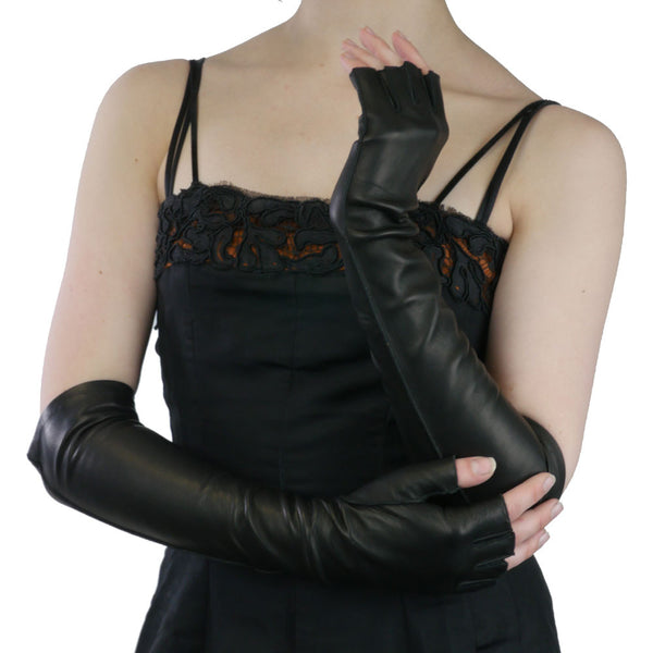 Elbow Length Italian Leather Gloves. Half Fingers, Black, Silk Lined, 12-BT - Solo Classe