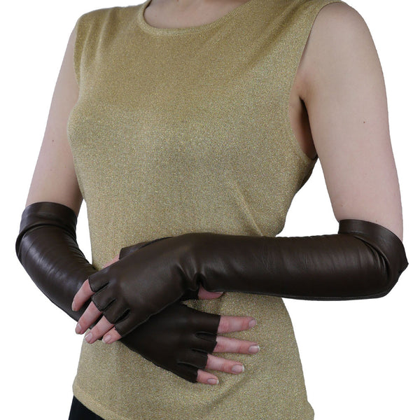 Elbow Length Italian Leather Gloves. Half Fingers, Dark Brown, Silk Lined, 12-BT - Solo Classe - 1