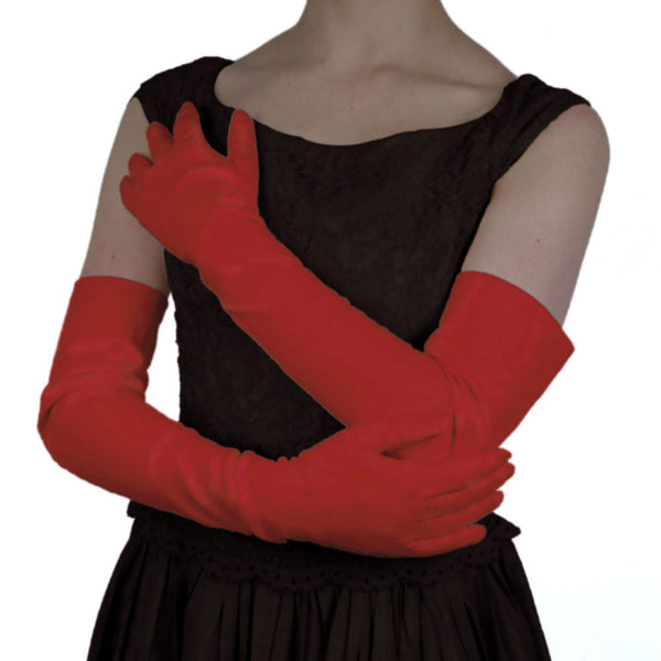 Italian Leather Opera Length Gloves, Red, Lined in Silk, 16-button - Solo Classe - 1