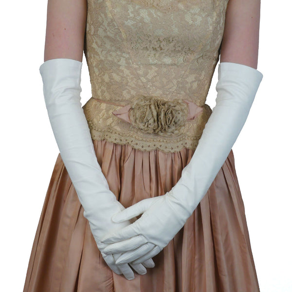 White Elbow Length Italian Kidskin Leather Gloves, Silk Lined 12-button   (NSP) - Solo Classe - 1
