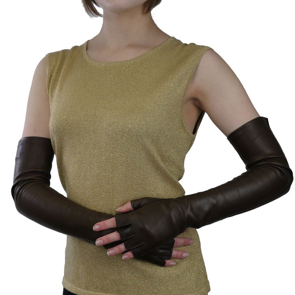 Opera Length Leather Gloves Half Fingers, Dark Brown, Silk Lined, 16-bt - Solo Classe - 1