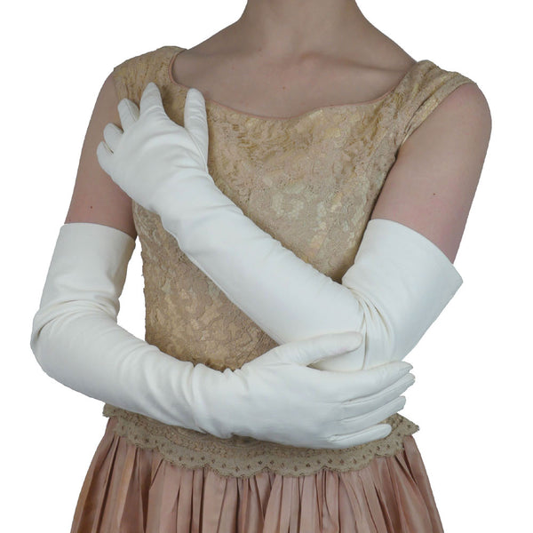 Long White Italian Leather Gloves Lined in Silk, 16 button length - Solo Classe - 1